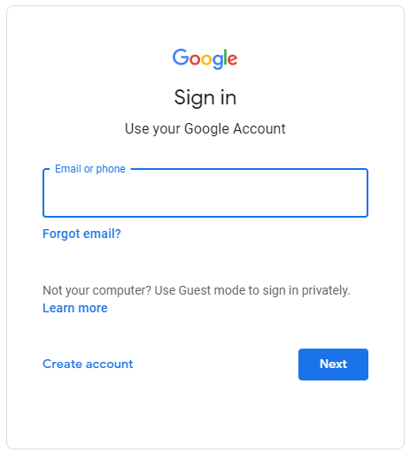Google Account sign in form