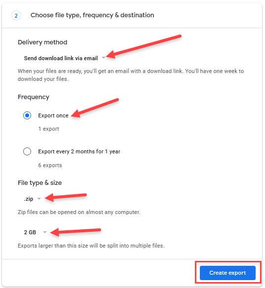 google's takeout export setting