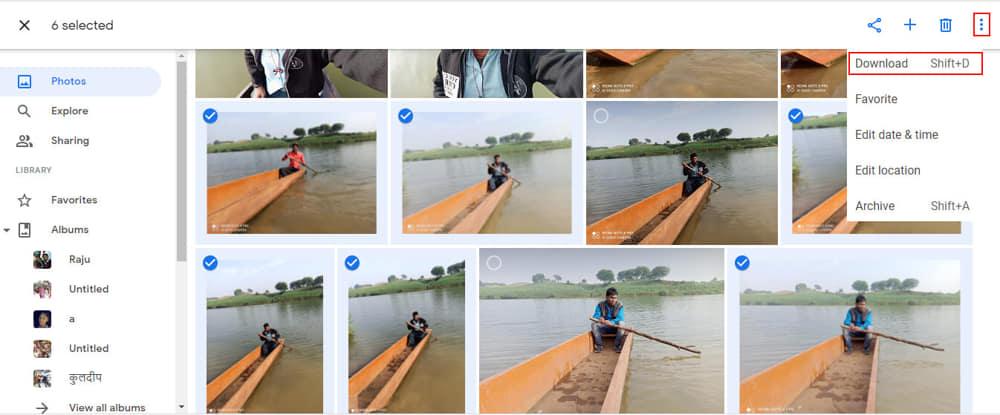 गूगल फोटोज पर कुछ फोटो को चुन कर डाउनलोड किया जा रहा है।