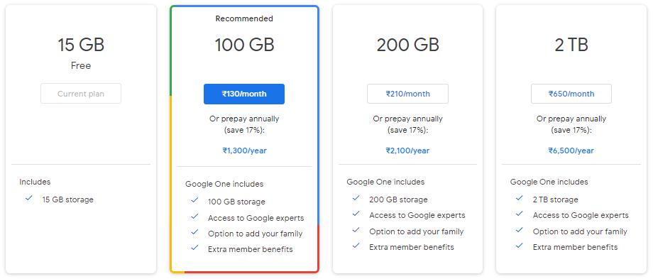 Google one subscription plans