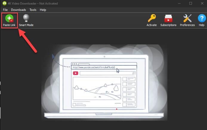 यूट्यूब वीडियो लिंक को 4k video downloader में किया जा रहा है